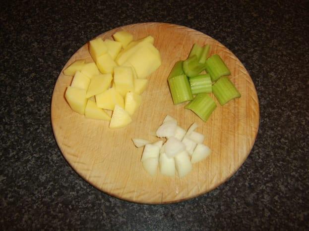 Chopped potato, celery and onion