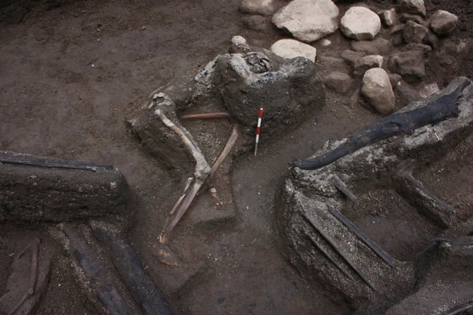 One victim who was discovered during the 2009 excavations. His left arm is held up to his head perhaps in a (failed) attempt to protect himself from falling pumice. The carbonized beams of the house are also shown (Photograph: Rik Stoetman)
