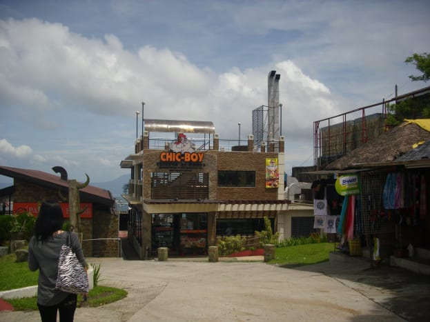 Pancake House and Chic Boy Restaurant overlooking the scenic view of Taal Volcano at Taal Lake.
