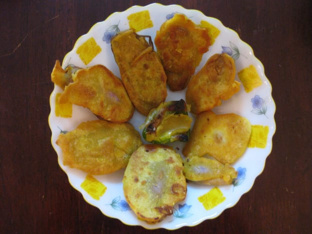 Vegetable fritters cooked in Indian style