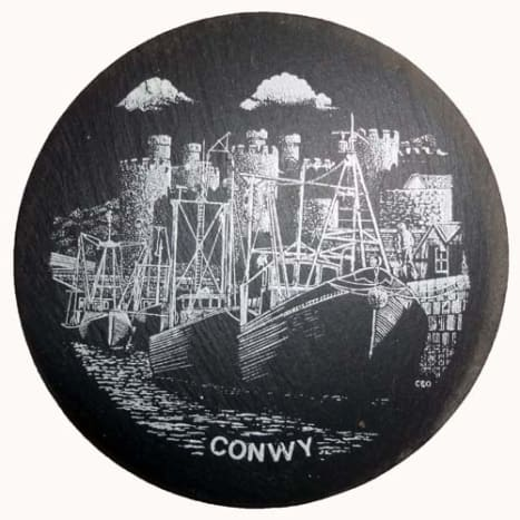 Slate coaster of Conwy, Wales
