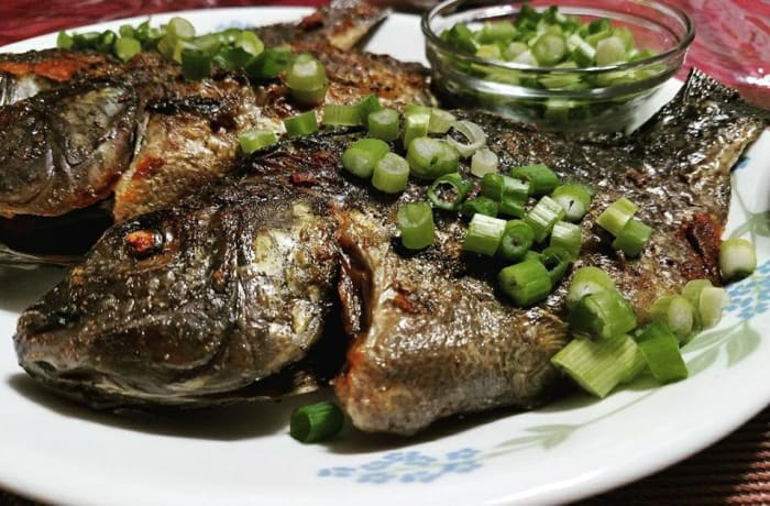 Broiled fish.