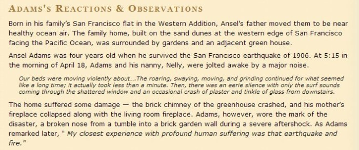 Eyewitness statement by Ansel Adams
