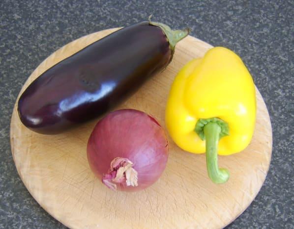 Mediterranean vegetables for shish kebab