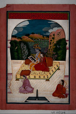 Krishna and Radha looking into a mirror, 1800 AD