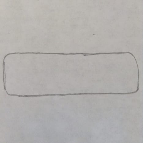 Step 1. Start with a rectangle with rounded edges.