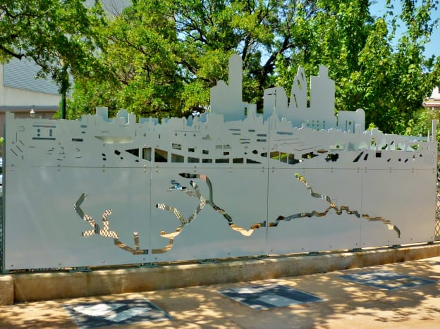 Steel cutout form of Houston by Paul Hester