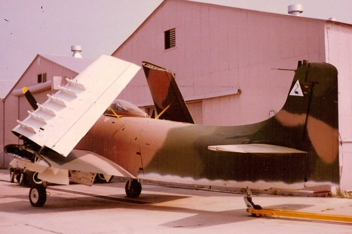 The Smithsonian's A-1 Skyraider at the Paul E. Garber Facility, MD circa 1990.