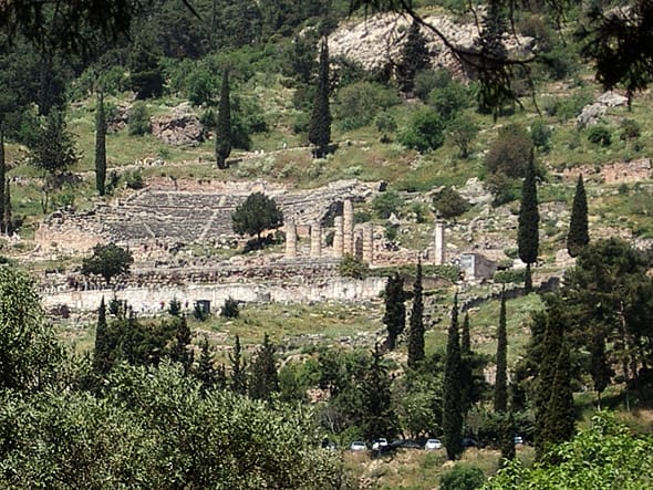 Sanctuary of Apollo, with switchback Sacred Way climbing up to the temple (just a few columns standing) and theater on the slopes above it.