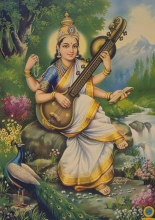 goddess Saraswathi-The goddess of knowledge and wisdom.Observe the grace in her face