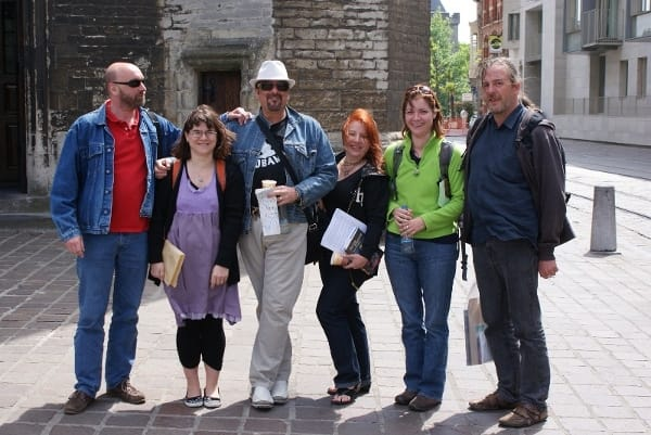 The McGowan Gang in Ghent, with Patrick Bernauw, Maryange Tibot, Patrick Ruffino, Kathleen McGowan, Mary Parent and Marc Borms (embee) in Ghent.
