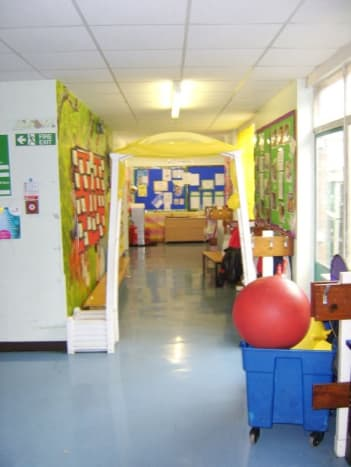 The corridor leading to former Rooms 1 and 2, now the Nursery area