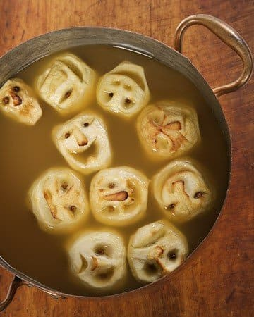 Jack O' Lanterns carved from Granny Smith Apples And Made Into A Delicious Apple Soup