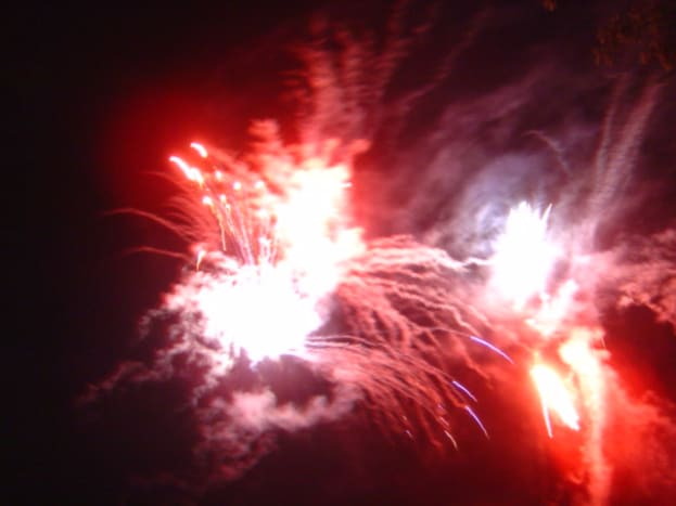 Fireworks on Videix lake. Meal and display in August