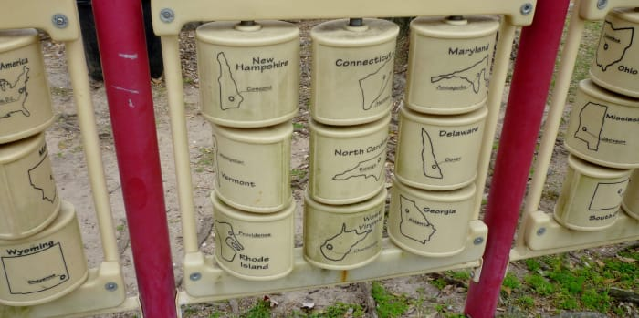 Educational items for kids built into the playground in Bane Park