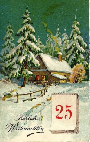 Free Victorian Christmas card with mountain cabin, snow, pine trees and December 25 calendar page