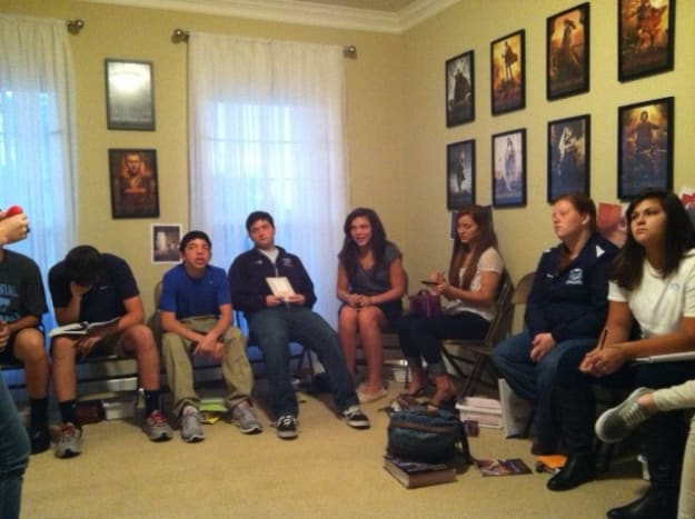 """This is one of my scripture study classes. Notice the framed series on the wall. This is the 11""""x17"""" size."""