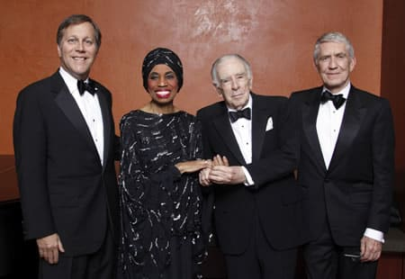 National Endowment for the Arts Chairman Dana Gioia and the first NEA Opera Honorees in 2008: diva Leontyne Price at age 81, composer and librettist Carlisle Floyd, and impresario Richard Gaddes.