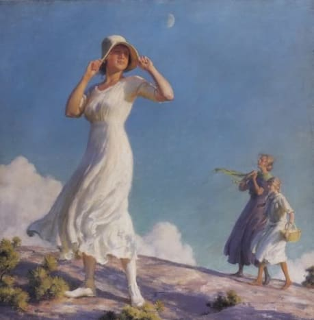 "I love the fabric of her dress blowing, and her having to hold on to her hat.  This is a gorgeous piece.  1917 ""High Country"" by Charles Courtney Curran. 30x30 inches."