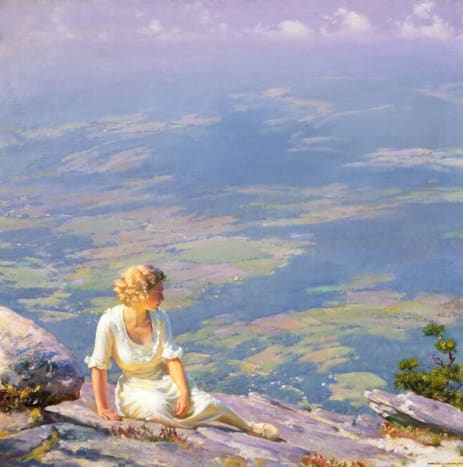 A woman overlooking a valley, near a cliff.  The pastel colors are beautiful, and the valley below looks almost like a patchwork quilt. 1915 by Charles Courtney Curran.