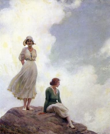 The Boulder, circa 1905.  I love the smile on the woman's face, and how she is standing on the boulder.  Charles Courtney Curran.  I love this one a lot.