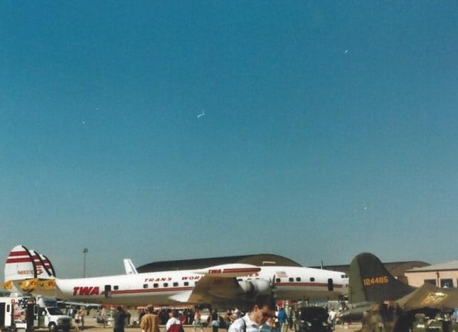 A Lockheed Constellation in TWA markings at Joint Base Andrews, Circa 1995.