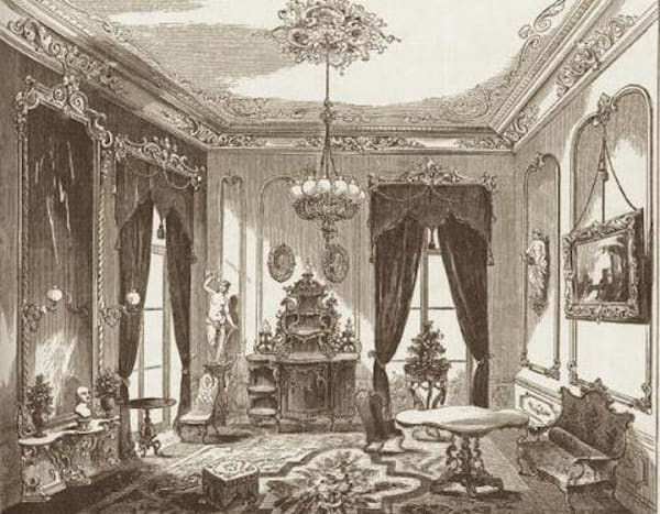 Engraving of a Victorian Parlour, 1854