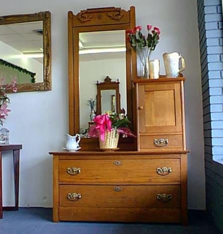 Solid oak Bonnet dresser from the 1860s