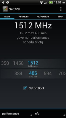 SetCPU is an Android app used to help control the speeds of your Android's CPU.