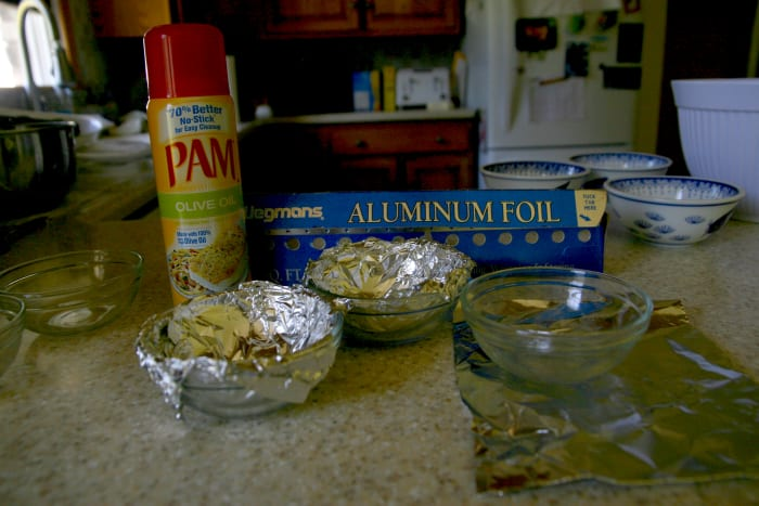 Line small bowls with aluminum foil and spray the aluminum lining with cooking spray.