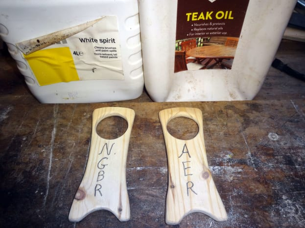 Using white spirit to clean the wood; and then teak oil to make it less absorbent for the wood dye, to help get more of an antique effect.