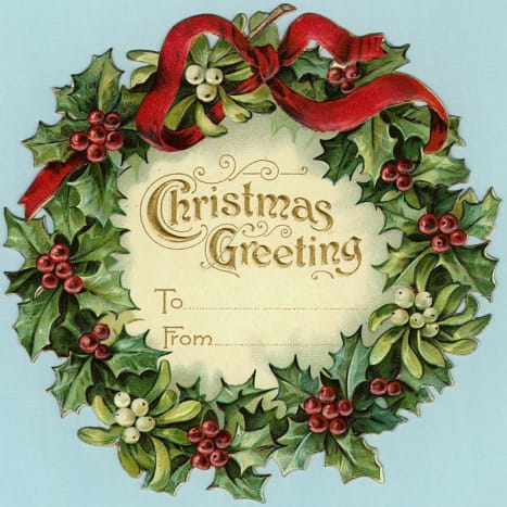 Free vintage gift tag: wreath with large red bow