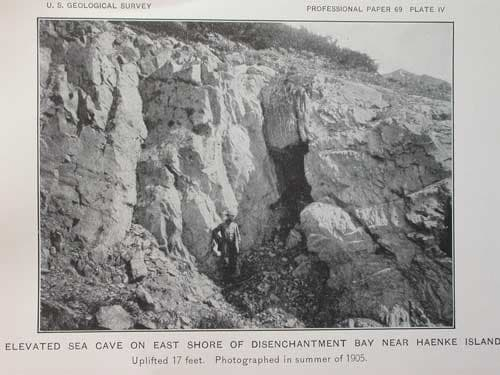 A photo showing shoreline uplifted during a massive 1899 earthquake near Yakutat. From the 1912 USGS paper
