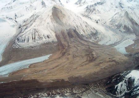 This huge landslide from an unnamed 7,000-foot-high peak in the Alaska Range