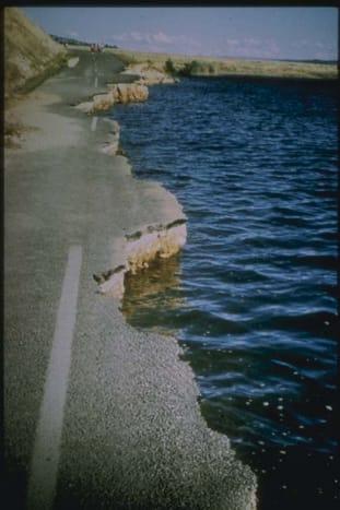 Slumping of Highway into Hebgen Lake, Montana-Photograph Credit University of California, Berkeley