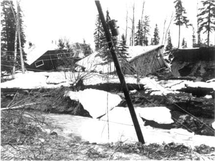 Landslide and slumping effects in the Turnagain Heights area, Anchorage, Alaska