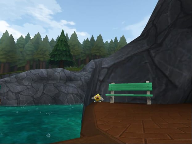 This Lemon-head in Karamelle City sits by a bench near the entrance to Rock Candy Mountain.