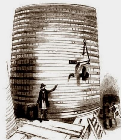 Oak and iron beer vat. With the ongoing competition, the casks were getting bigger all the time.