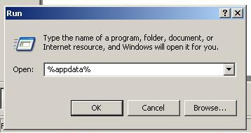 "Click on Start -  Click on Run -  In the box that appears, type %appdata% , click OK ""Windows XP"" screenshot"