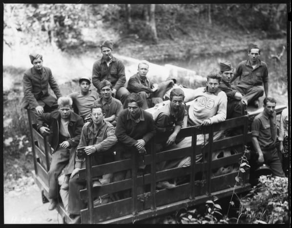Group of CCC boys from Idaho just arrived in camp near Andersonville, Tennessee. The CCC units are to assist in the reforestation work on the Clinch River watershed above the Dam. circa 1933.