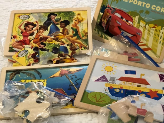 12-piece puzzles with picture on board