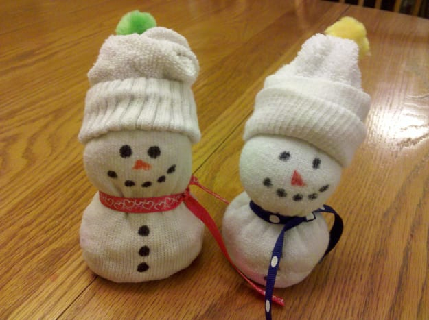 Our finished sock snowman!
