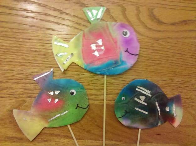 Our school of coffee filter fish!
