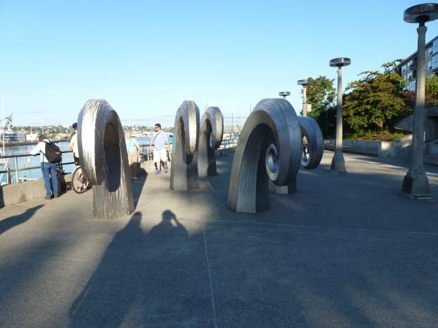 Fanciful sculpture above the fish ladder