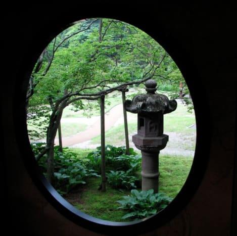 Through a window of Tamozawa villa.
