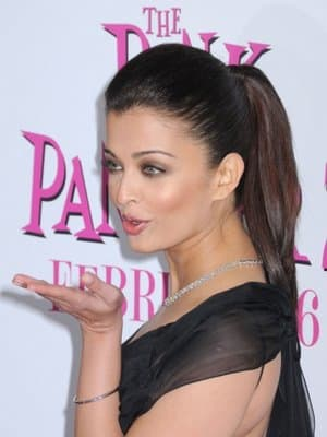 Indian actress, Aishwarya Ra wearing a perfectly sleek ponytail