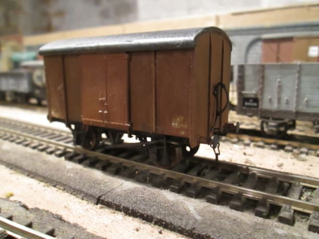 former Southern Railway plywood bodied van (1946) in British Railways fitted livery. I have a variety of non-London & North Eastern vehicles  that would have been seen in the North Eastern Region on through or local branch traffic (Ratio kit)
