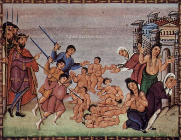 painting of The slaughtor of the innocents following  the arrival of the Magi