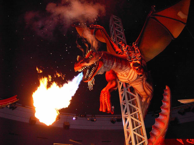 Animatronic robot: A fire-breathing dragon in West Edmonton Mall, Alberta, Canada