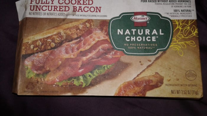 You can find Hormel Natural Choice in the dry goods area sometimes (refrigerate after opening).